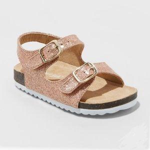 Nib Cat & Jack Rose Gold Comfort Footbed Sandals